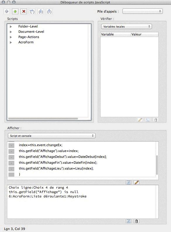 La Console JavaScript d'Acrobat