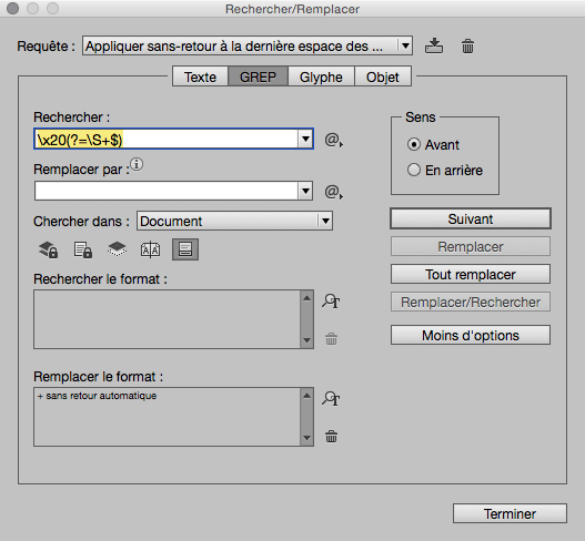 GREP pour InDesign : anti mot orphelin