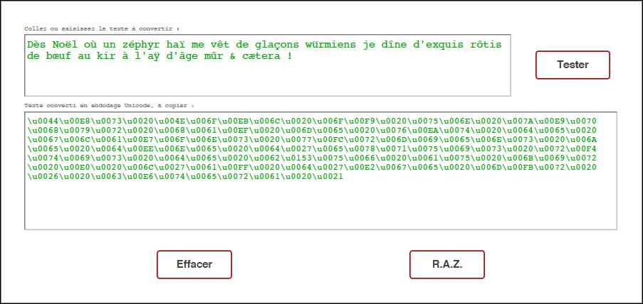 Texte vers Unicode