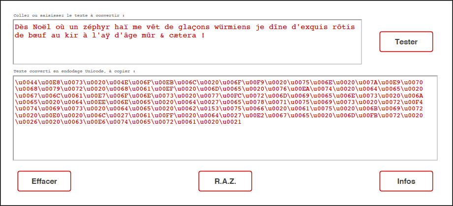 Texte vers Unicode, capture d'écran