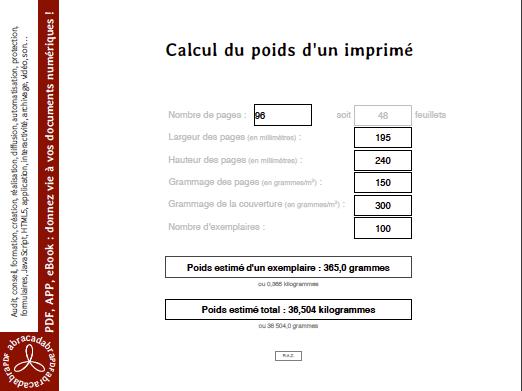 capture d'écran du calcul du poids d'un imprimé