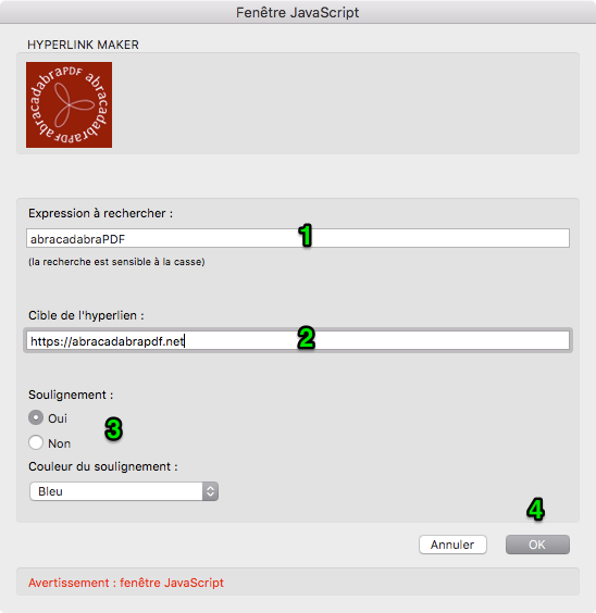 Fenêtre de Hyperlink Maker