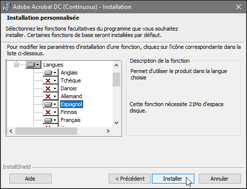 Changer la langue d'Acrobat Pro pour Windows, capture 3