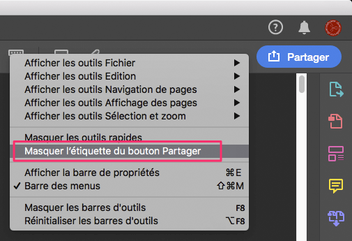 """Le gros bouton """"Partager"""" d'Acrobat DC 2019"""
