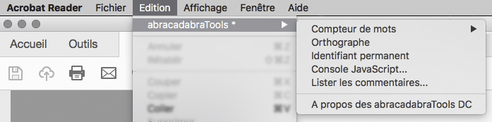 Les outils abracadabraTools pour Acrobat Reader