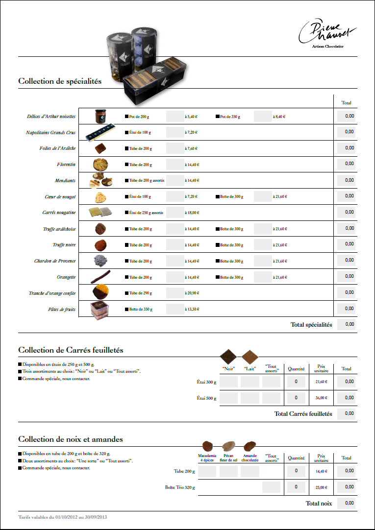 Chocolaterie Chauvet bon de commande vignette